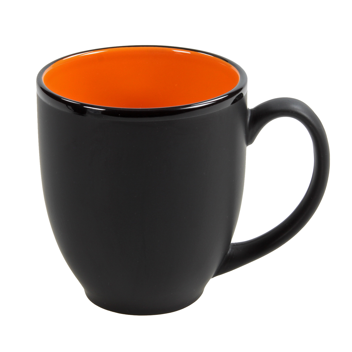 Hilo Bistro Coffee Ceramic Mug Orange Matte Black Cafe