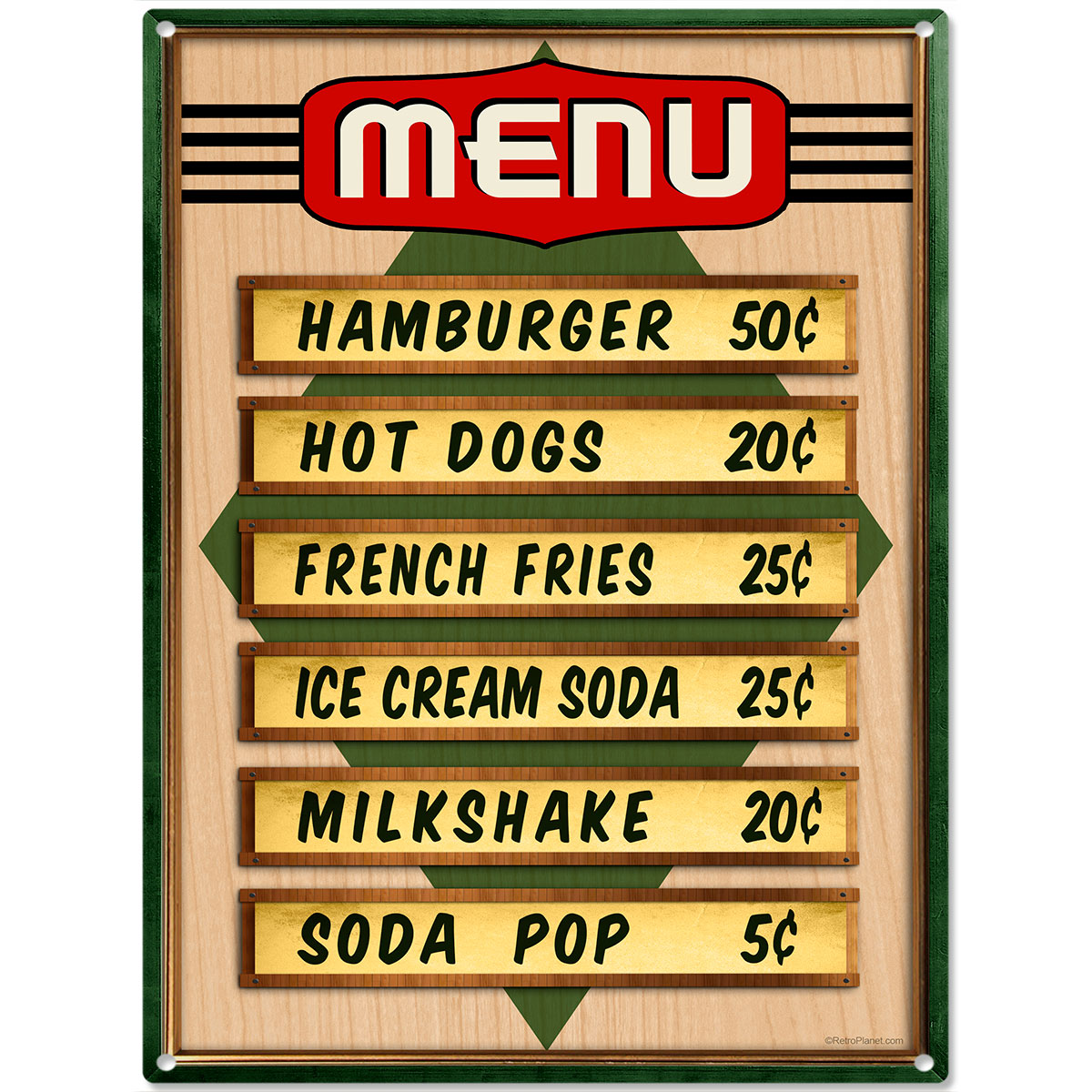 Diamond Diner Menu Prices Metal Sign Kitchen Wall Decor Vintage Style 12 X  16