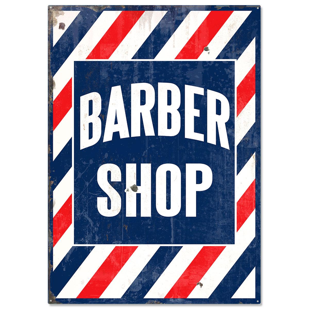 Barber Shop Distressed Stripes Large Sign Vintage Style