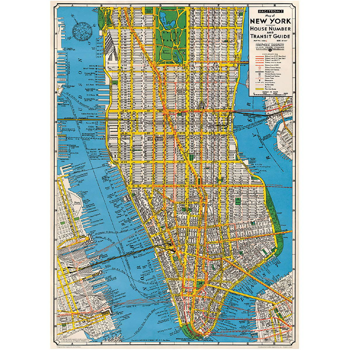 new york city manhattan street map vintage style poster ephemera