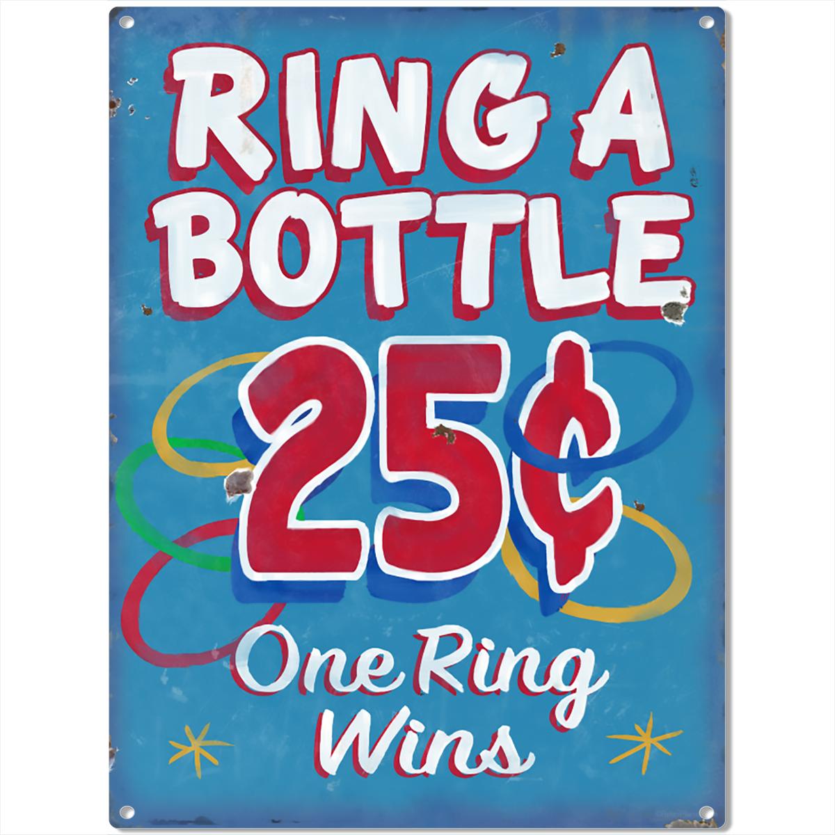 Ring A Bottle Carnival Game Metal Sign Vintage Style Game Room ...