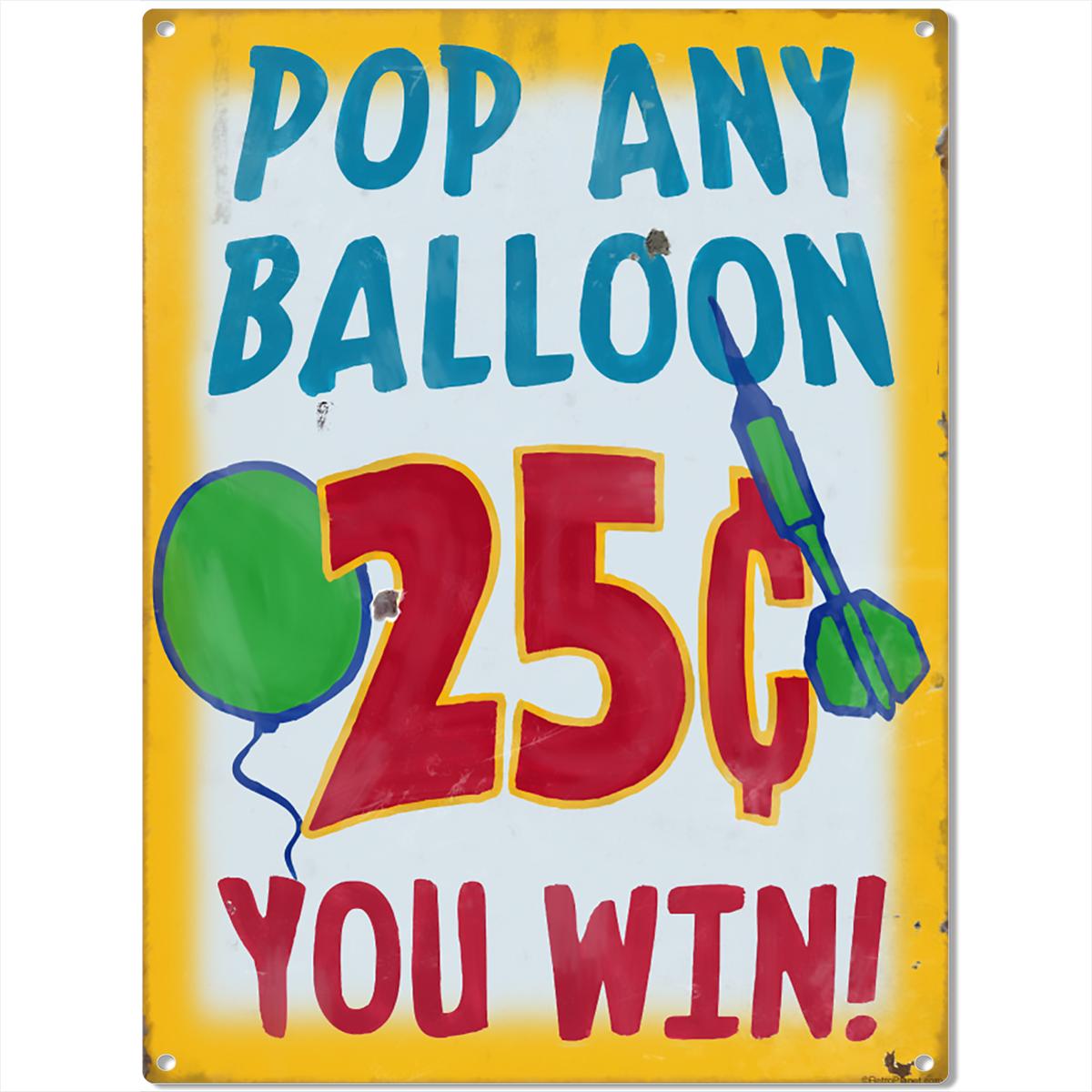 Balloon Darts Carnival Game Metal Sign Vintage Style Game