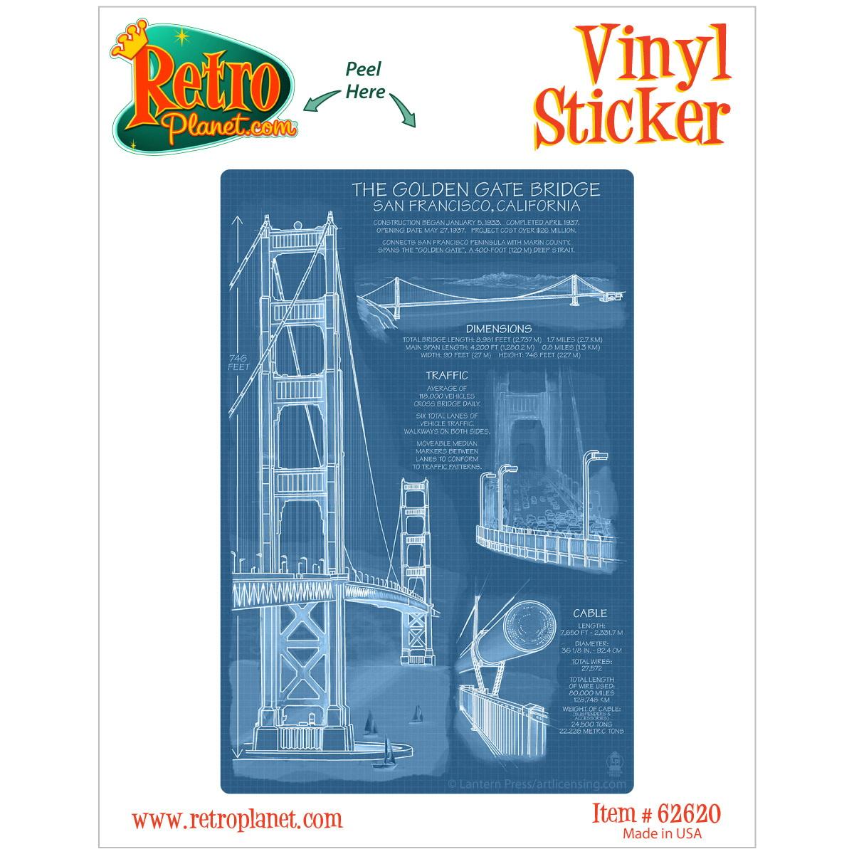 Golden Gate Bridge Blueprint Vinyl Sticker Travel San Francisco Decal