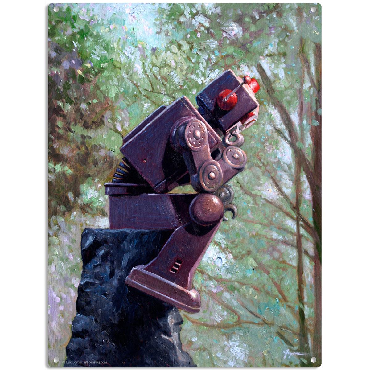 Robot thinker rodin style collator metal sign retro sci fi for Sci fi decor