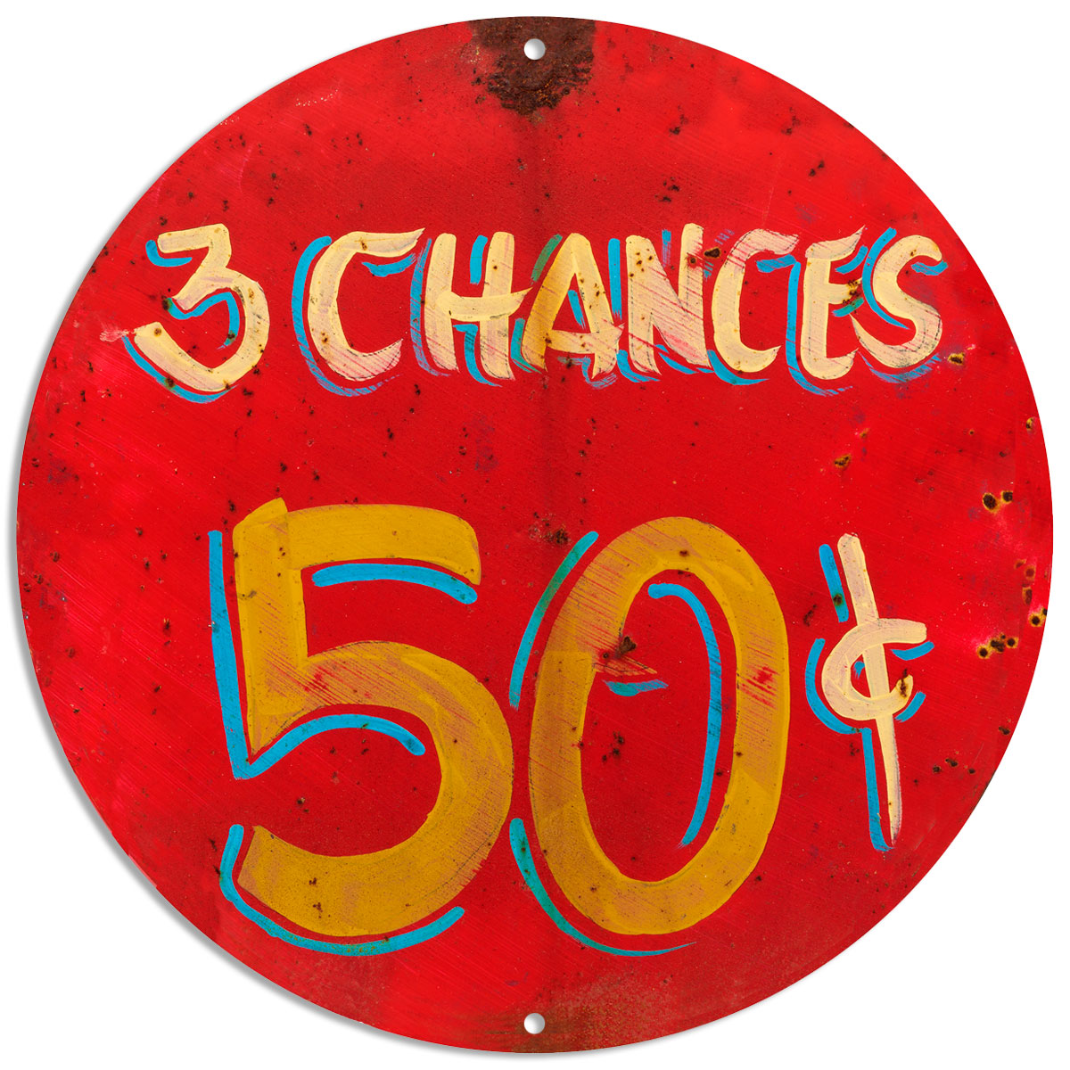 3 Chances 50 Cents Carnival Game Sign Rustic Vintage Style