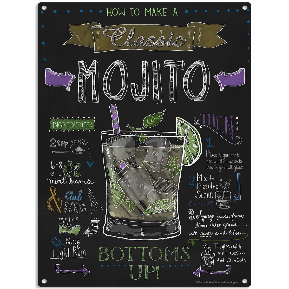 Mojito recipe chalkboard style sign vintage style bar decor 12 x 16 ebay - Pizarras de bar ...