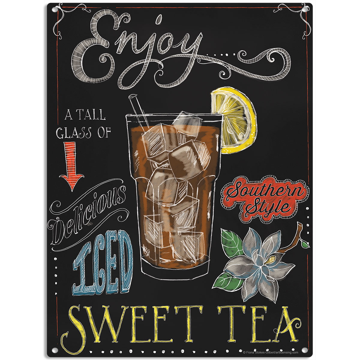 Sweet Tea Chalkboard Style Metal Sign Vintage Style
