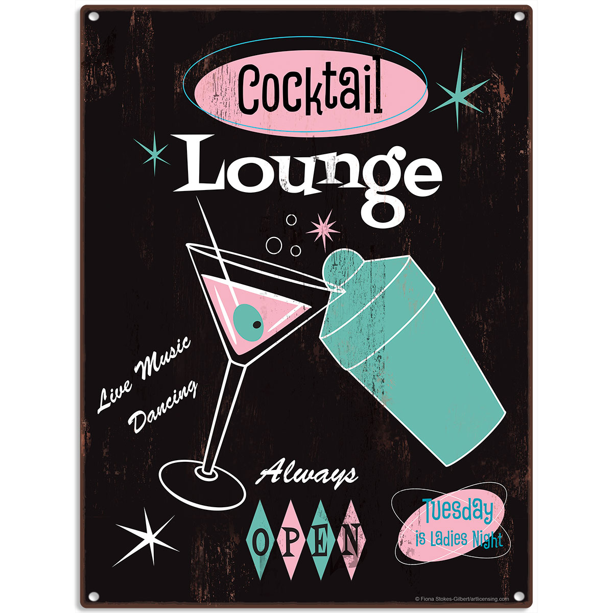 Cocktail Lounge 50s Style Populuxe Metal Sign Bar Man Cave