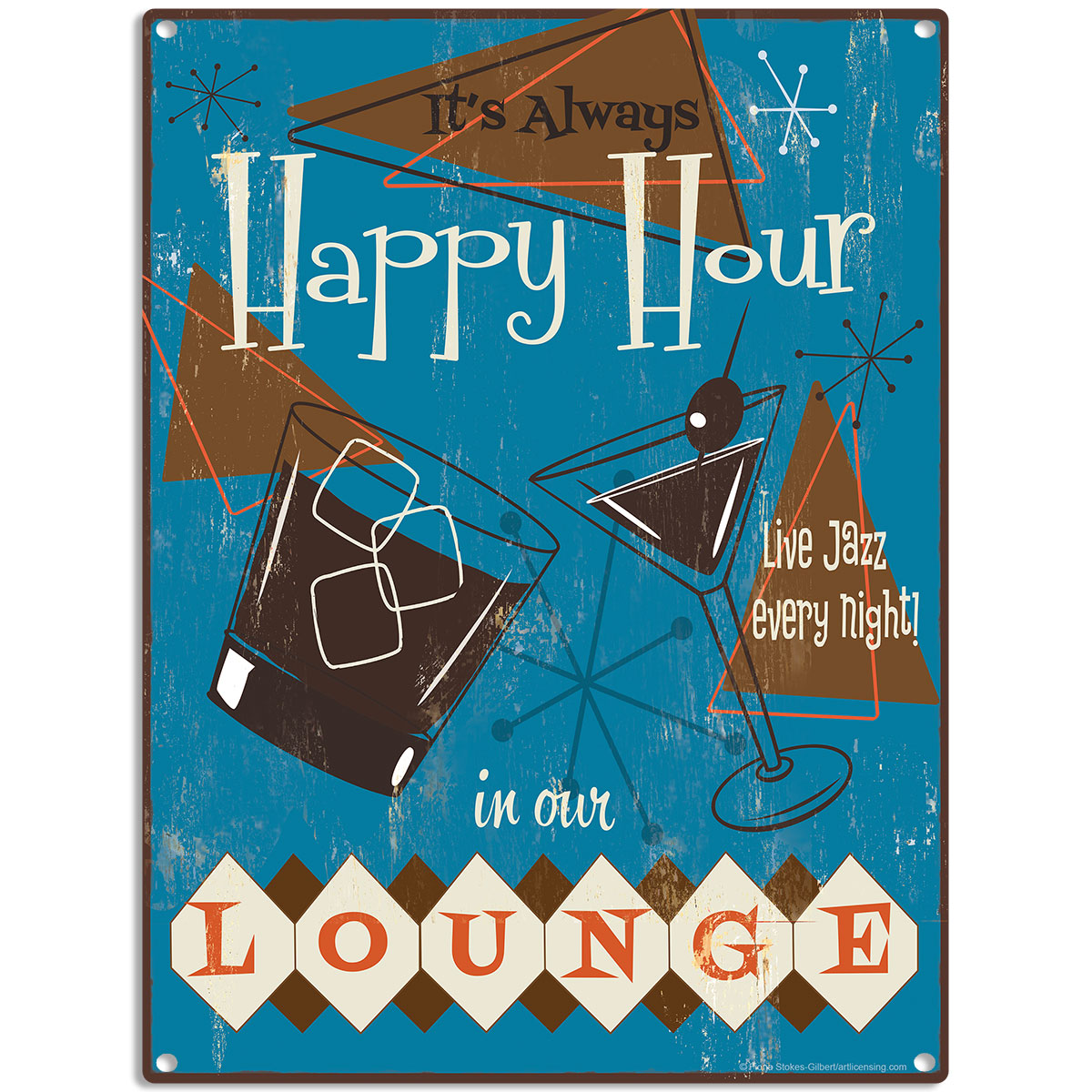 Happy Hour Lounge 50s Style Populuxe Metal Sign Bar Man Cave Decor ...