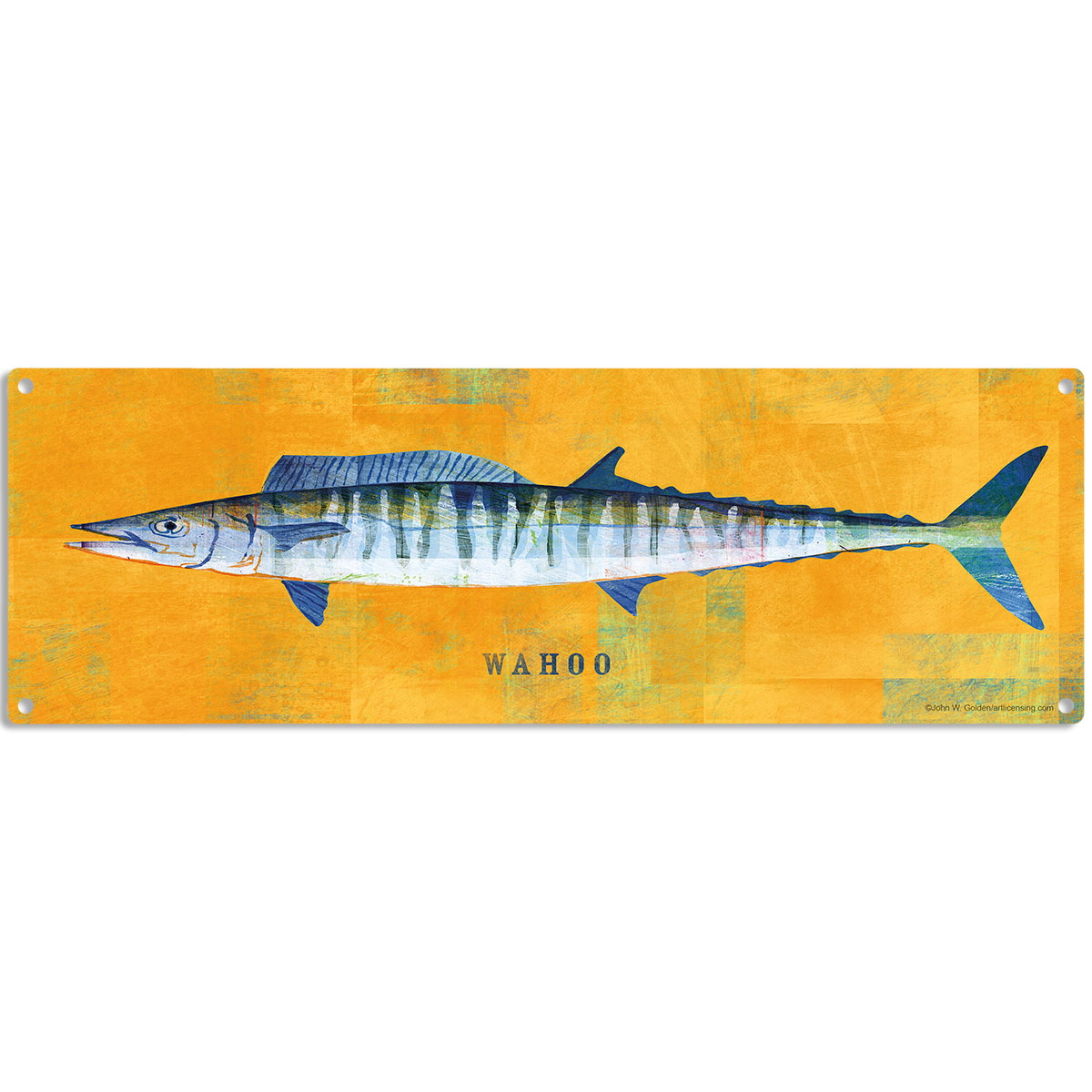 Wahoo Saltwater Fish Art Sign Vintage Style Fishing Decoration 18 x ...