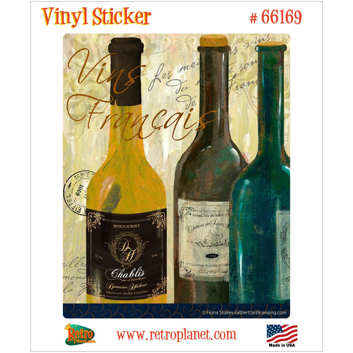 Vins de France Wine Bottles Vinyl Sticker Vintage Style Decal ...