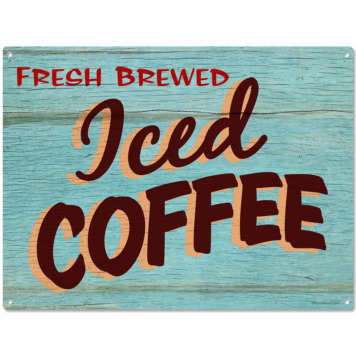 Iced Coffee Rustic Cafe Metal Sign Vintage Style Kitchen Decor Steel ...