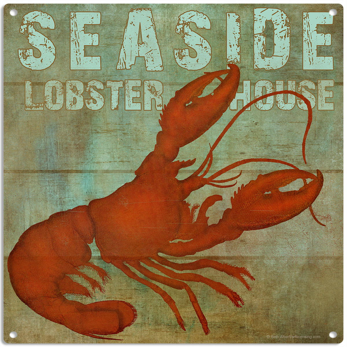 Exceptional Seaside Lobster House Rustic Metal Sign Seafood Kitchen Decor 12 X 16