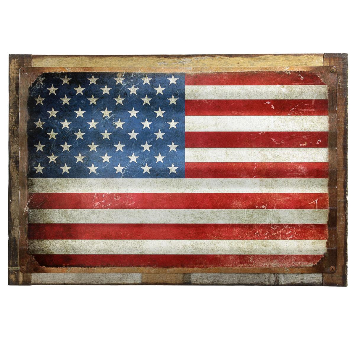 ed646657cc37 American Flag Distressed Framed Corrugated Metal Sign Patriotic Decor 26 x  18