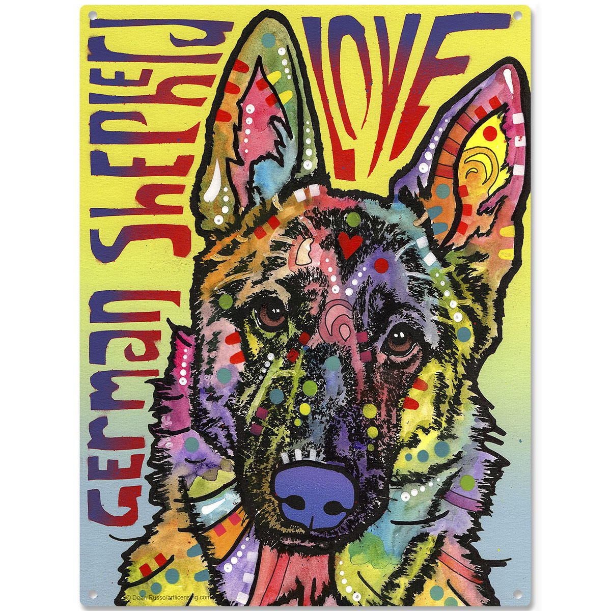 German Shepherd Love Dean Russo Metal Sign Pop Art Pet Wall Decor 12 ...
