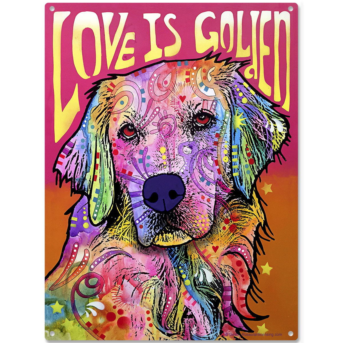 love is golden dog dean russo metal sign pop art pet wall decor 12 x 16 - Dean Russo