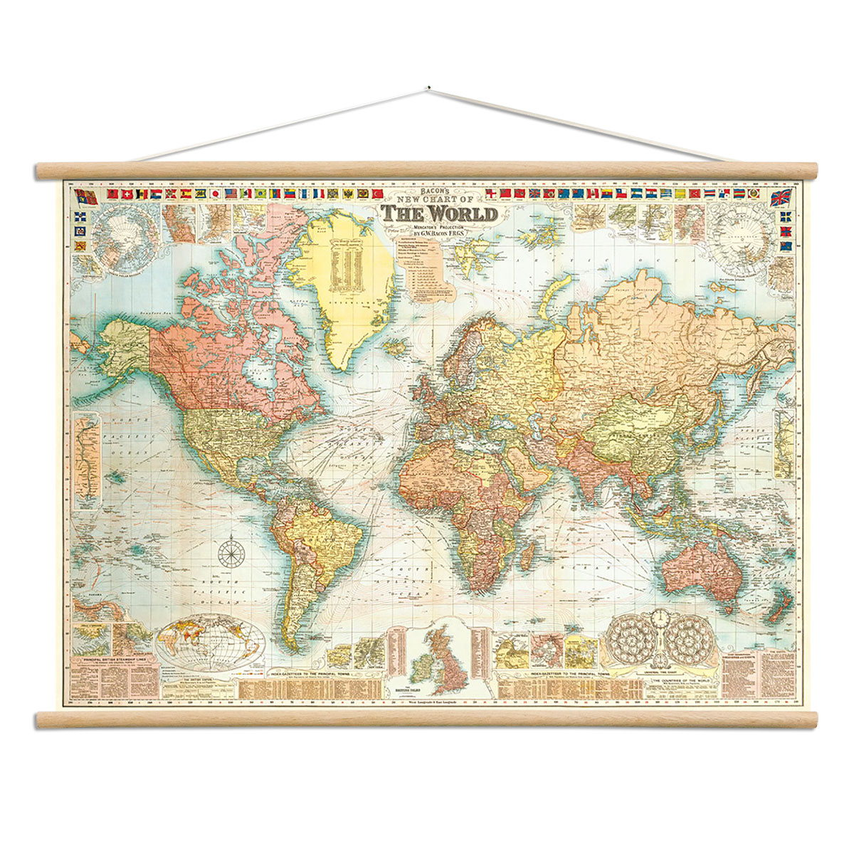 Bacons world map vintage style poster with hanger kit decorative bacons world map vintage style poster with hanger kit decorative paper 28 x 20 gumiabroncs Gallery