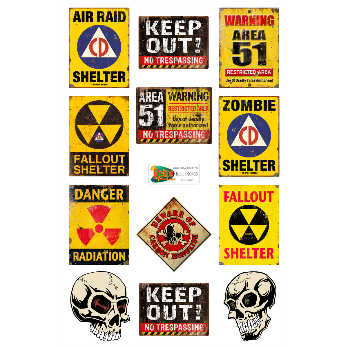 Area 51 Fallout Shelter Warning Signs Vinyl Sticker Sheet