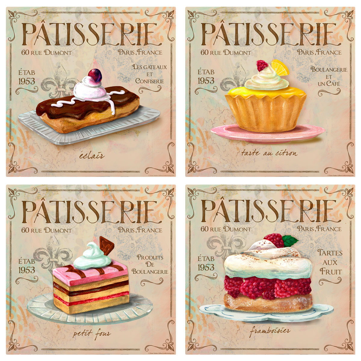 Patisserie French Bakery Wall Decal Set Vintage Style Home Decor Bundle