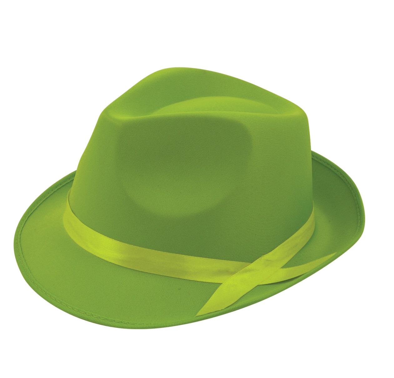 Adulto-Neon-Fluorescente-Ganster-Sombrero-del-Vestido-Lujo-Accesorios-Un-Tamano