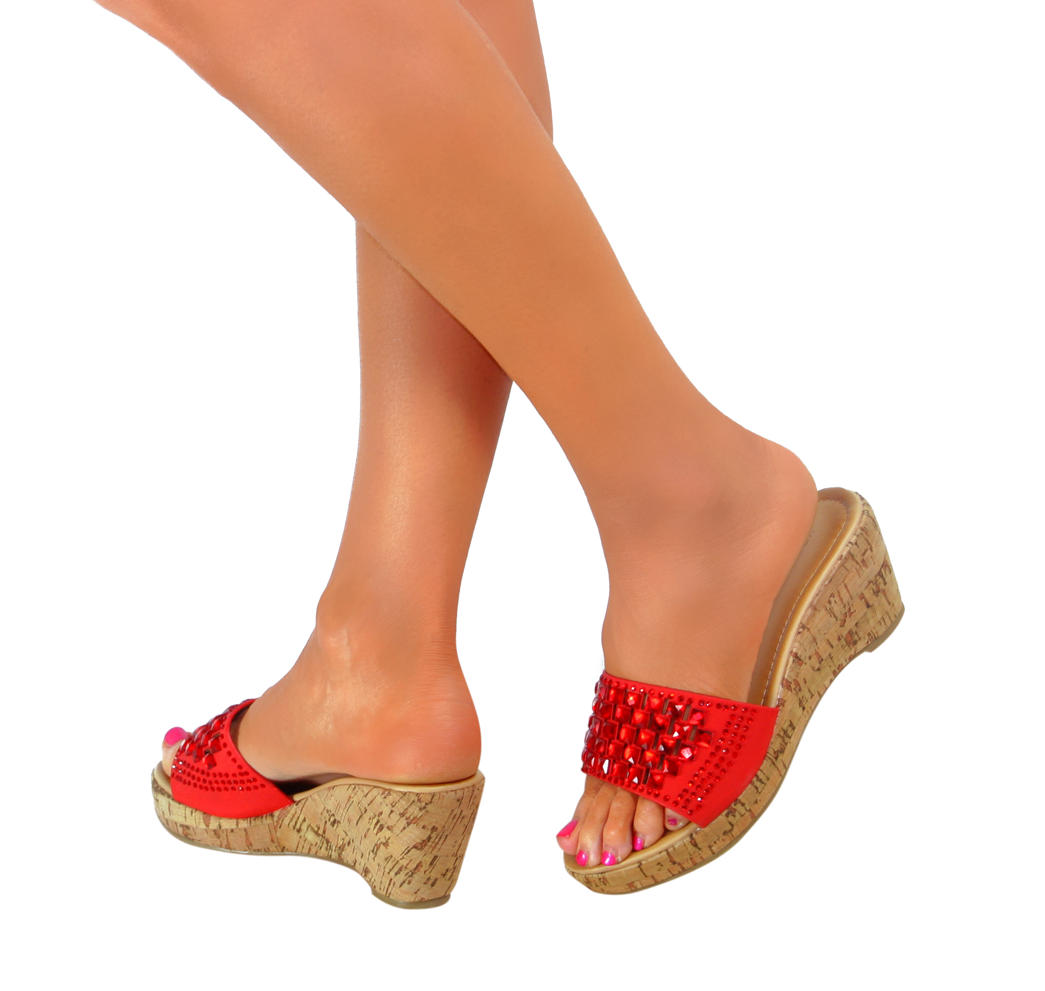One Inch Block Heel Red Shoes