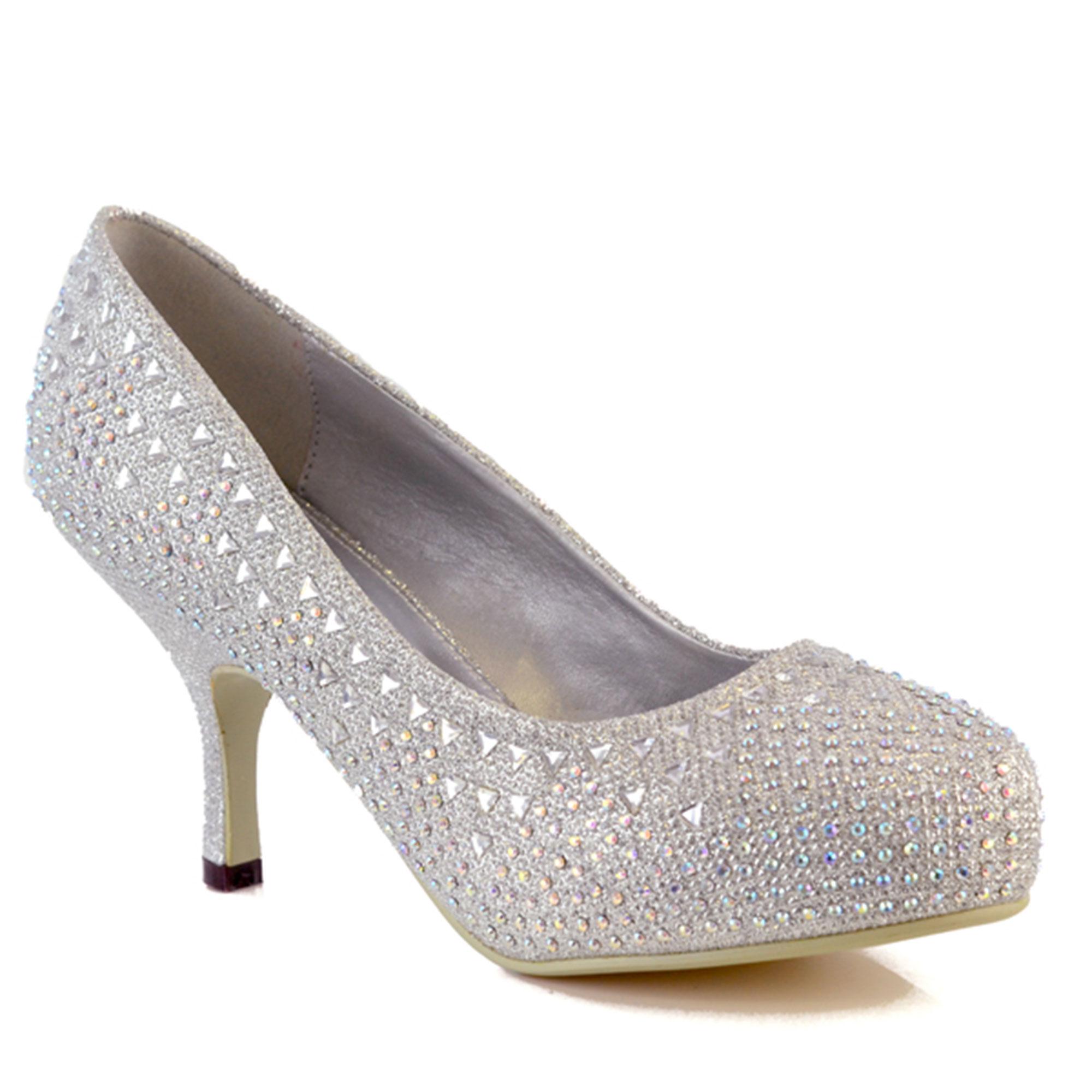 Ladies Glitter Diamante Kitten Low Mid Heel Platform ...