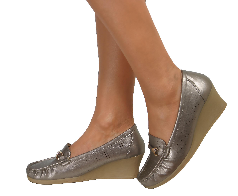 Ladies Low Mid Heels Wide Fit Wedge Slip On Comfort Smart ...
