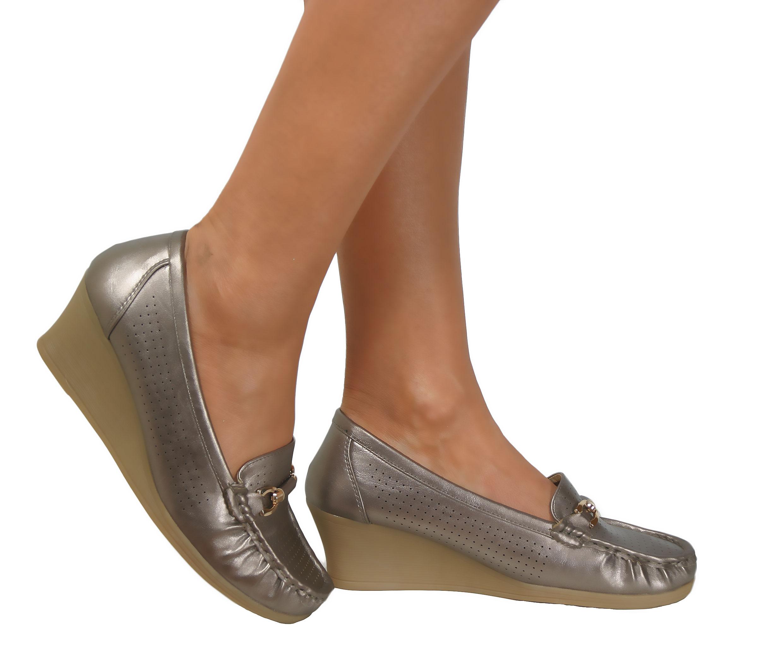 Ladies Low Mid Heels Wide Fit Wedge Slip On Comfort Smart