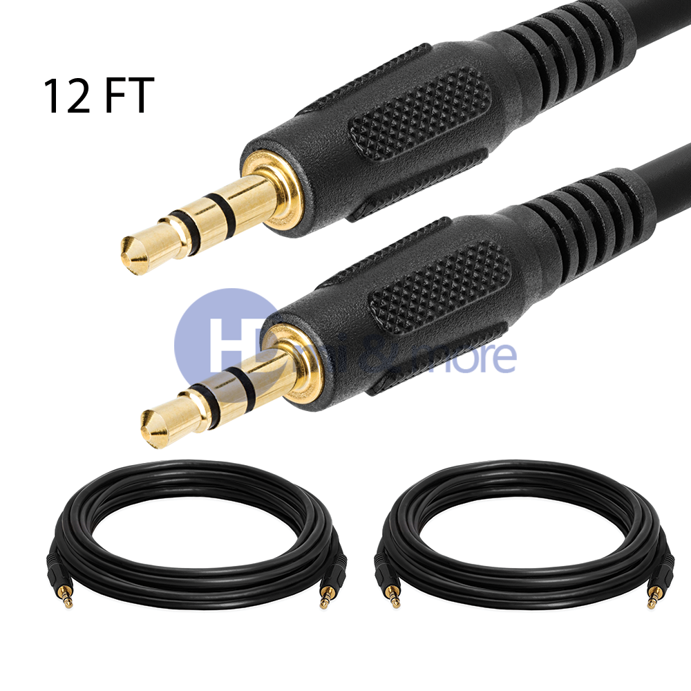 """12ft 1//8/"""" 3.5mm Stereo Audio Headphone Cable Cord Male to Male M//M MP3 Aux PC"""