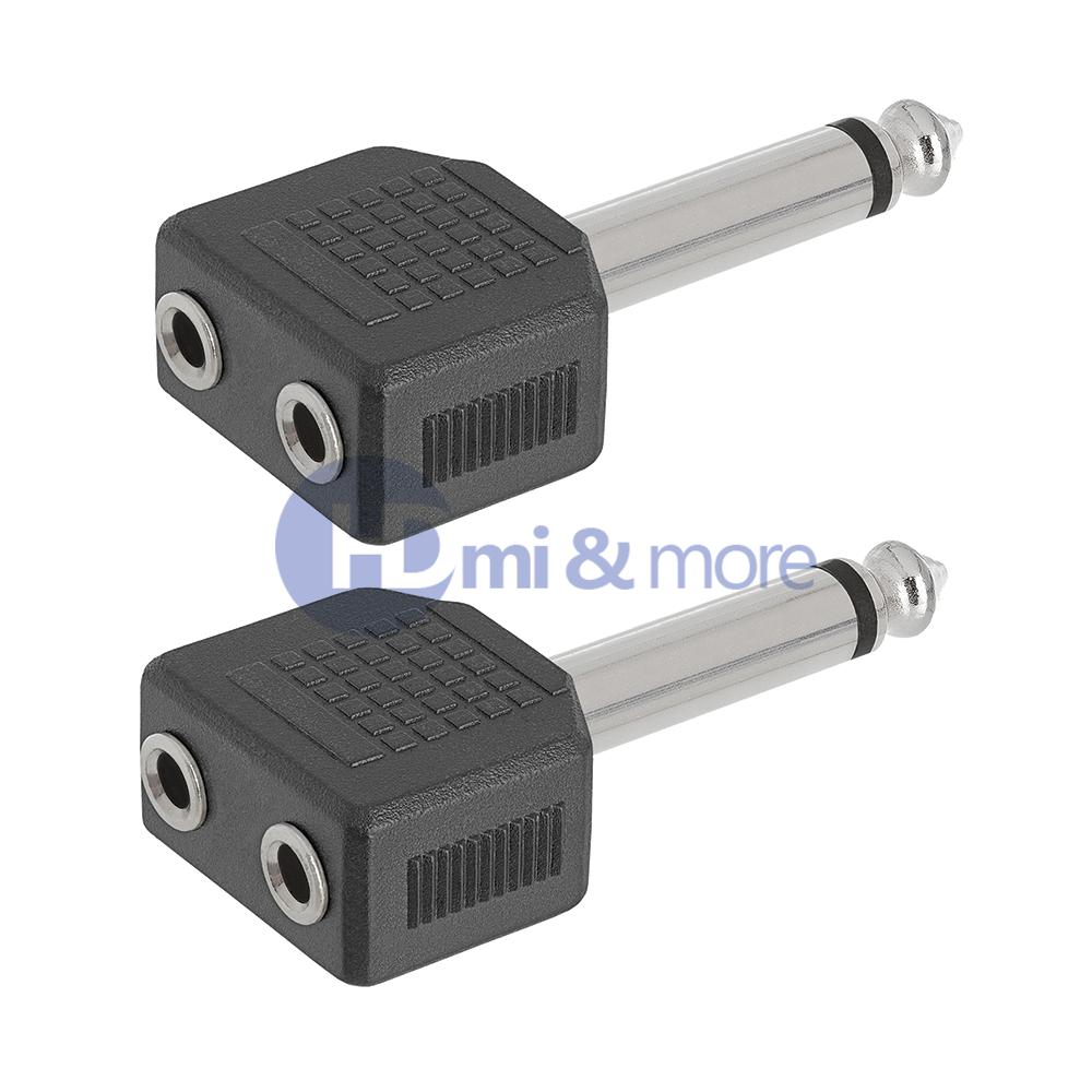 "1//4/"" 6.35mm Mono Plug Adapter to 2-way 6.35mm Mono Jack Headphone Y Splitter"