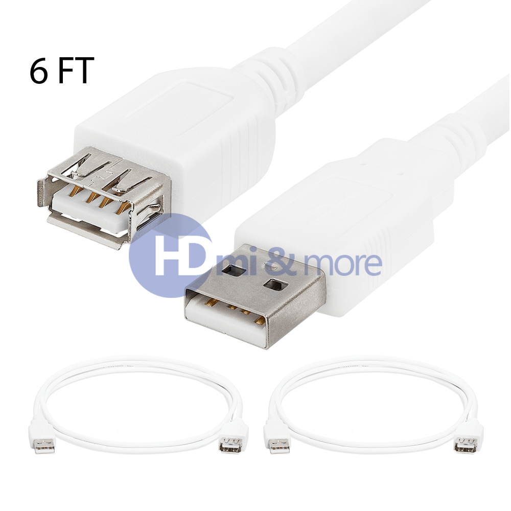 USB 2.0 Extension Cable A Male to A Female Extender Cord White LOT 6FT