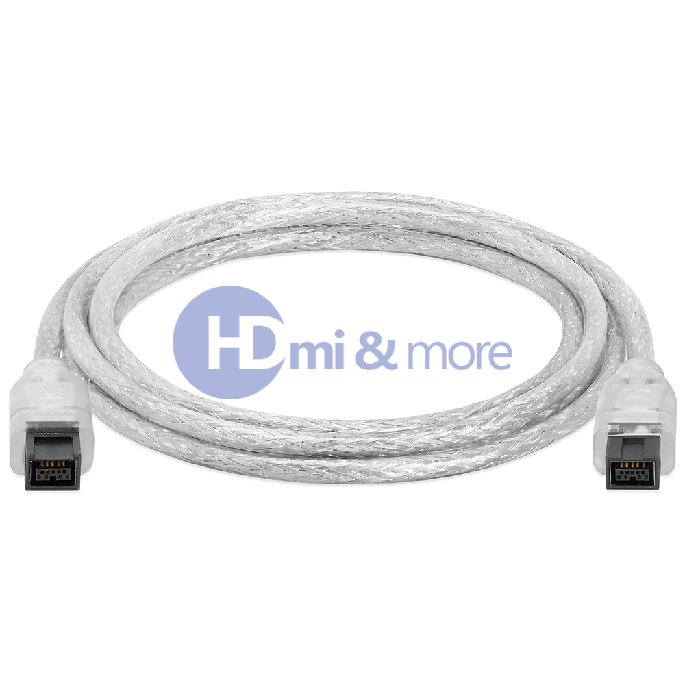 Cable 3/' FireWire 400 6-Pin IEEE 1394 iLink PC MAC DV 2-Pack Clear
