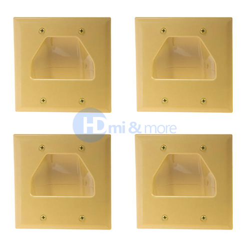 4x Ivory Wall Plate Plastic Hide Cable 1 Gang Recessed Low Voltage Wall Plates