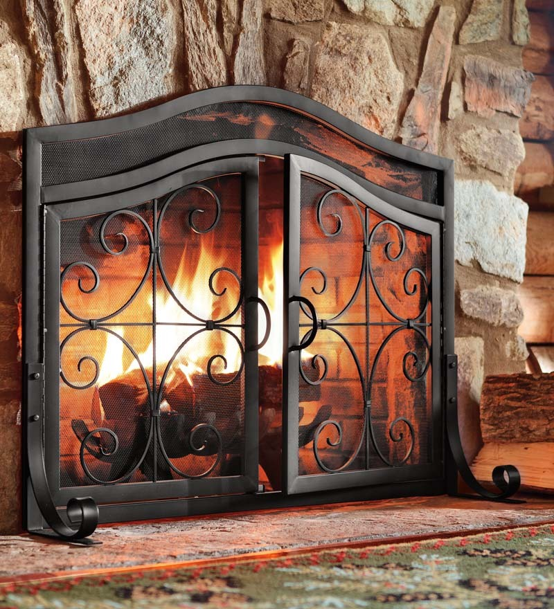 Small Crest Fireplace Screen With Doors; Picture 2 Of 6; Picture 3 Of 6 ...