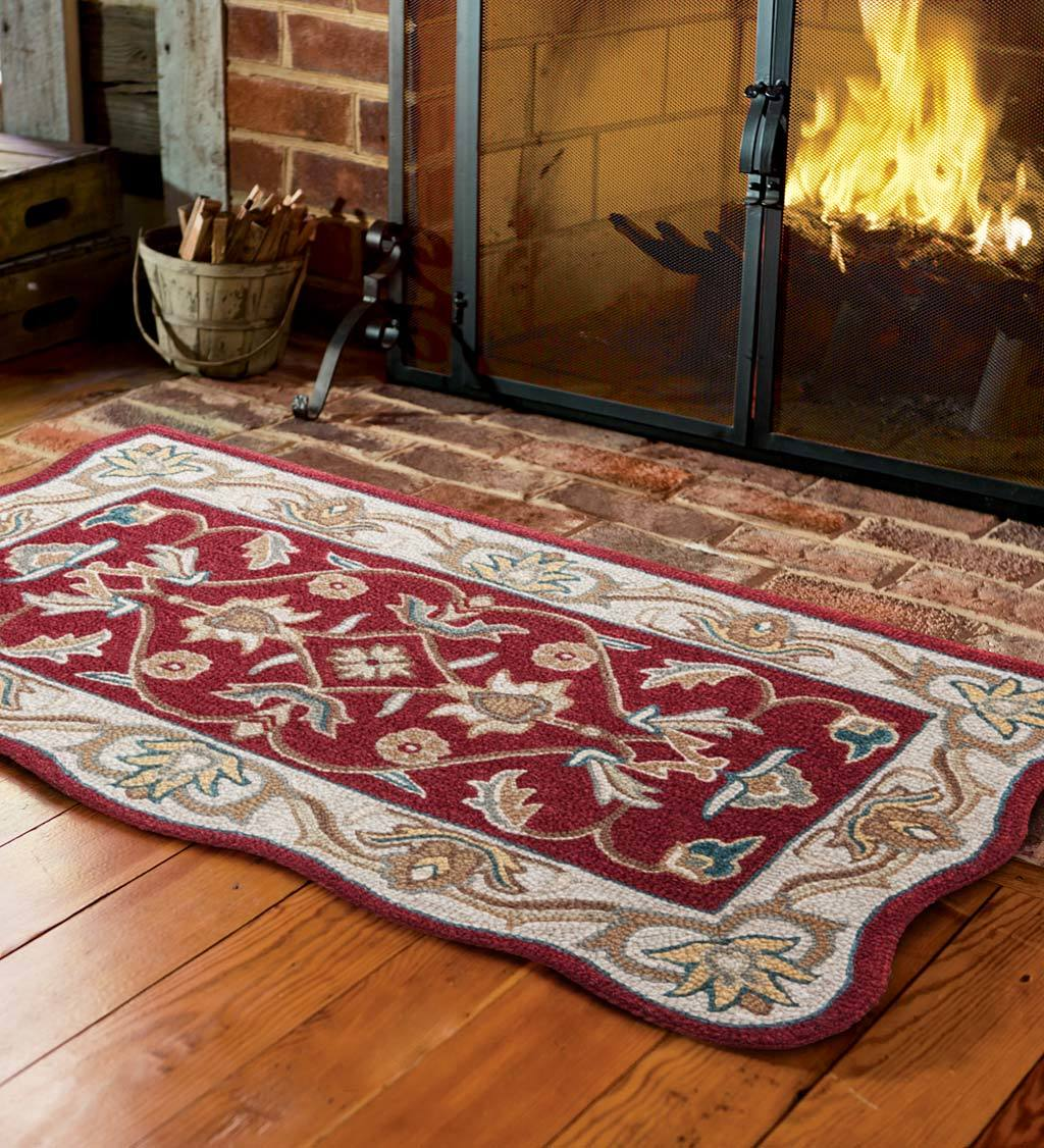 Distance From Fireplace To Rug: HandTufted Fire Resistant Scalloped Wool McLean Hearth Rug