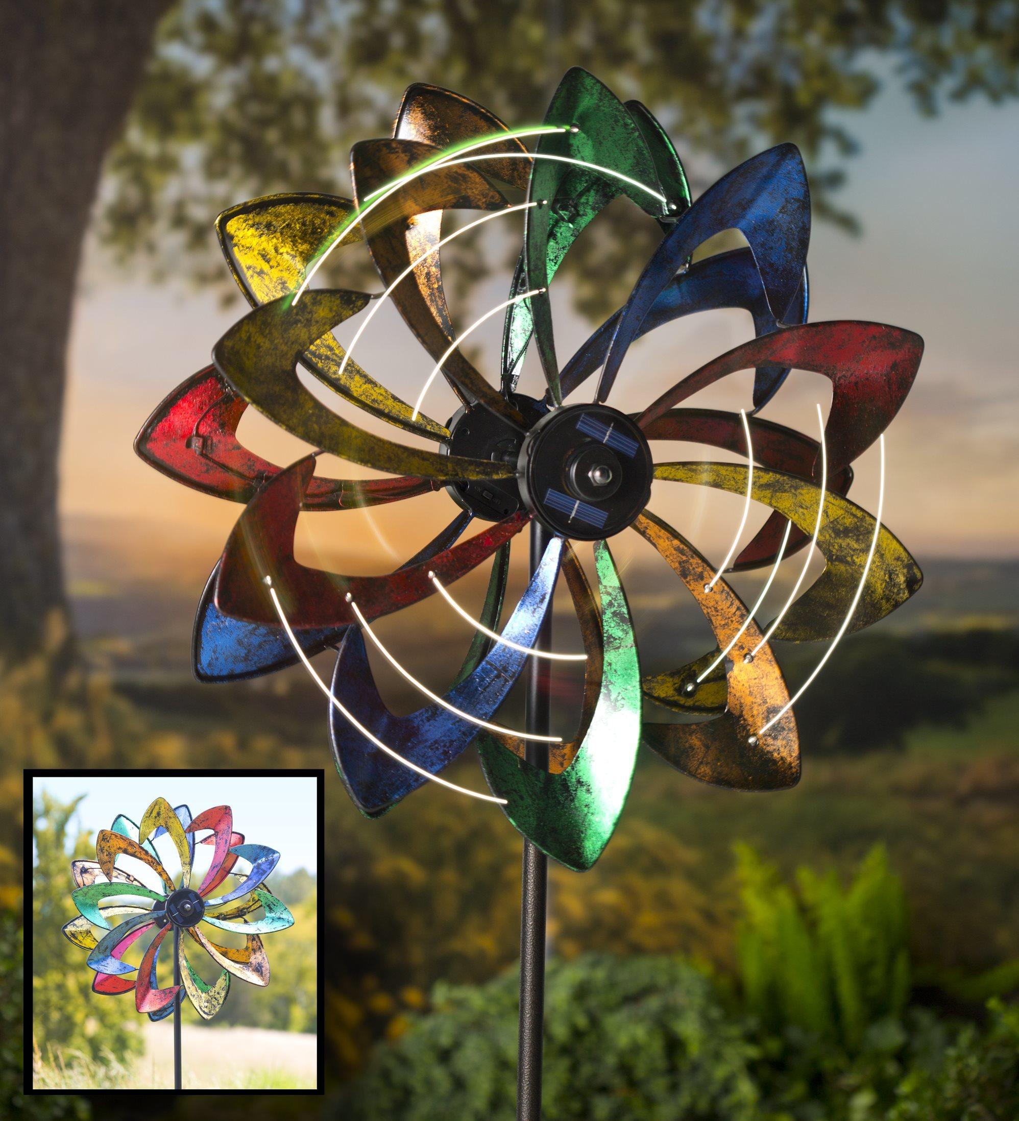 Solar-Powered LED Flower-Shaped Garden Wind Spinner | eBay