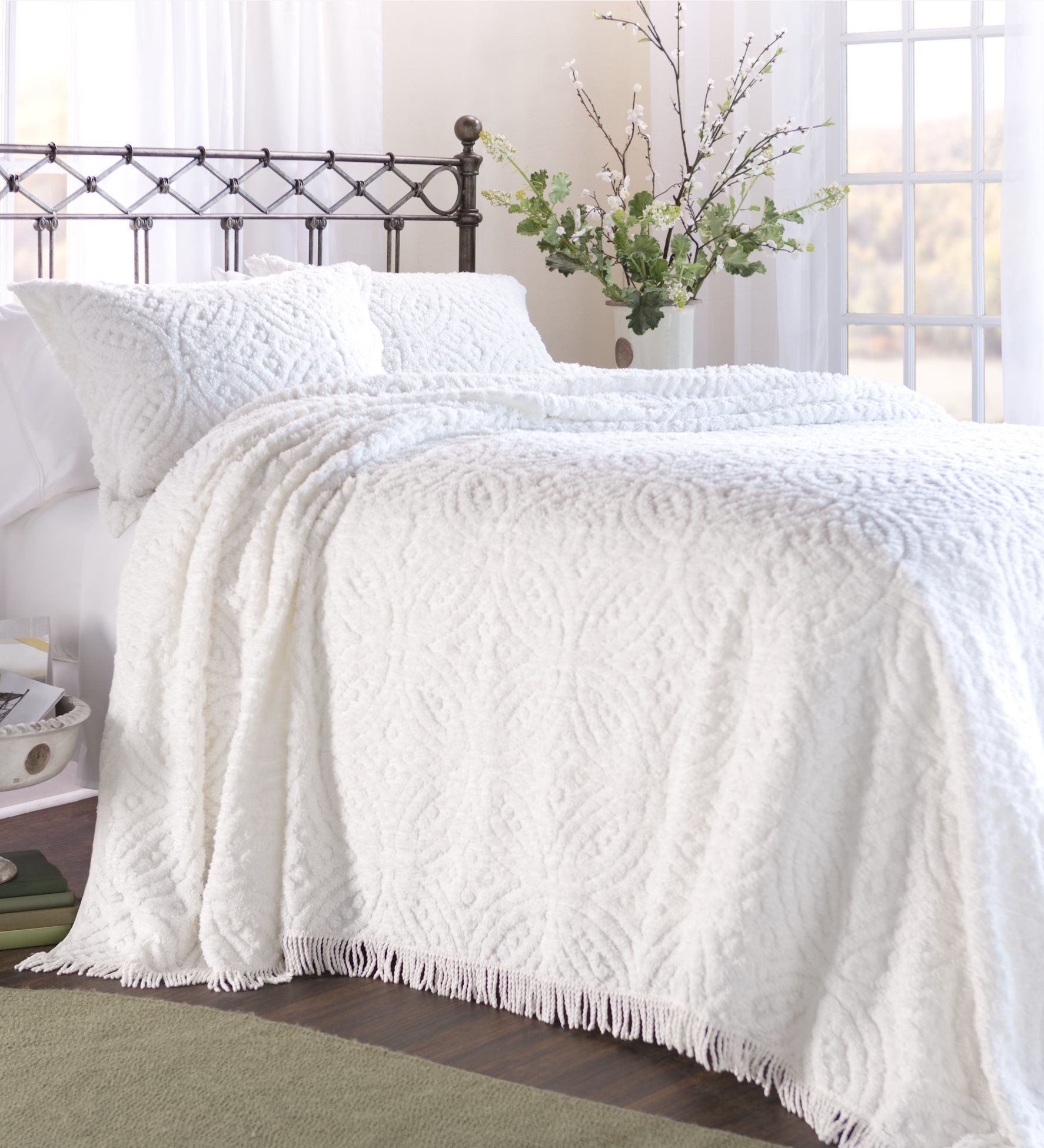 twin chenille bedspread wedding ring tufted chenille bedspread ebay 2989