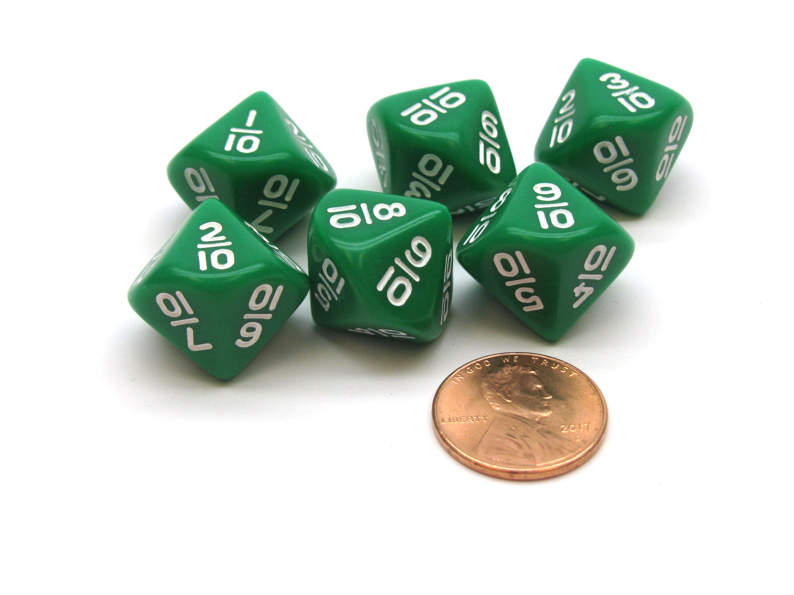 1//10 to 10//10 Green with White Numbers Pack of 6 10 Sided Fraction Math Dice