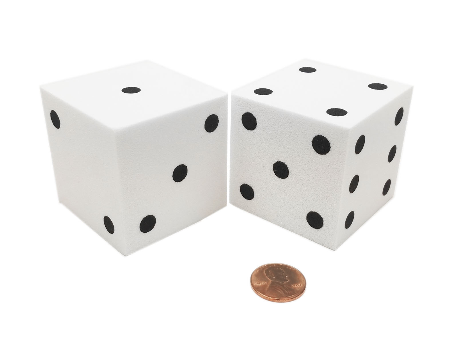 Pack of 2 Large Jumbo 50mm Blank Foam Dice Cubes Yellow