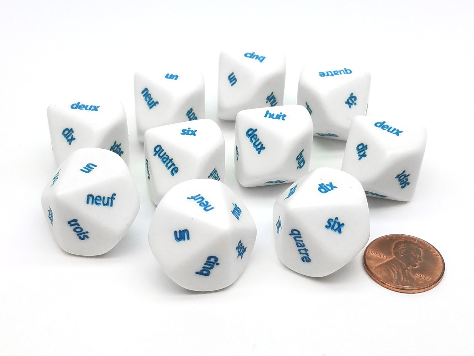 1 to 10 White with Black Etches Pack of 10 D10 Sign Language Dice