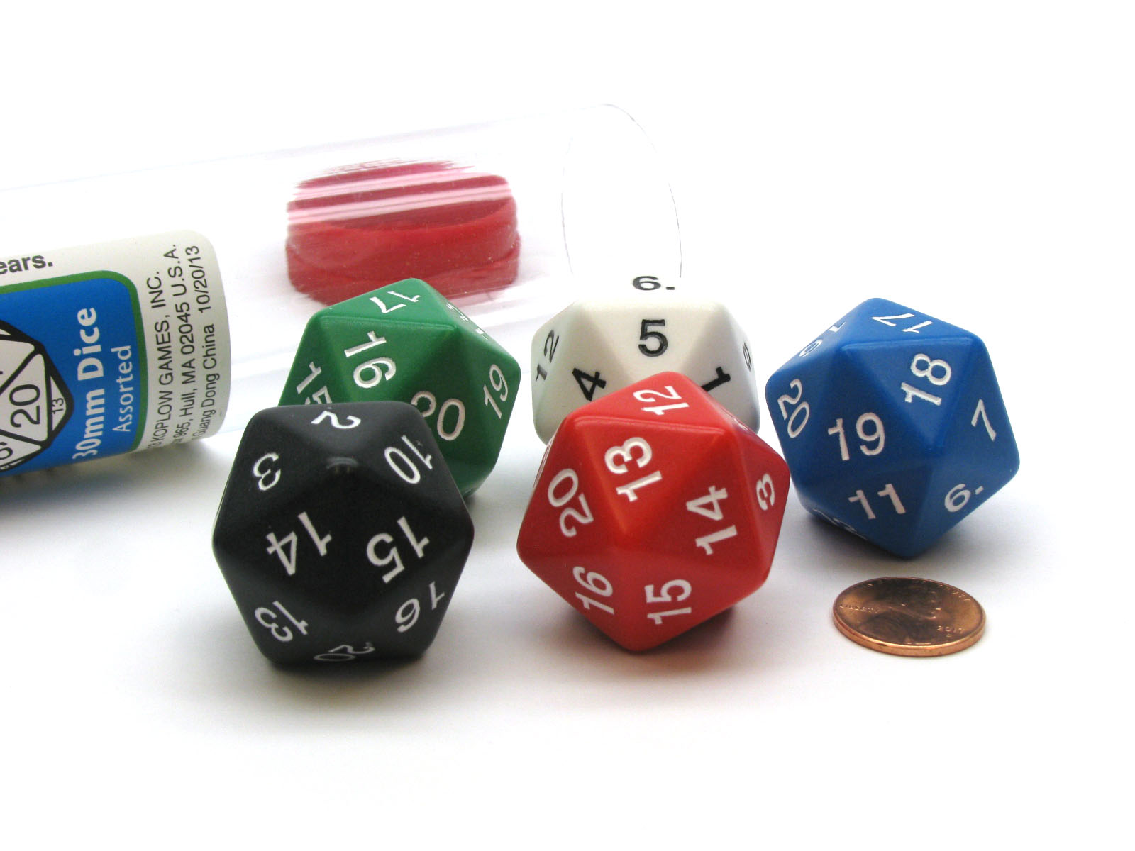 Red with White Pack of 2 Large 30mm Countdown D20 Dice
