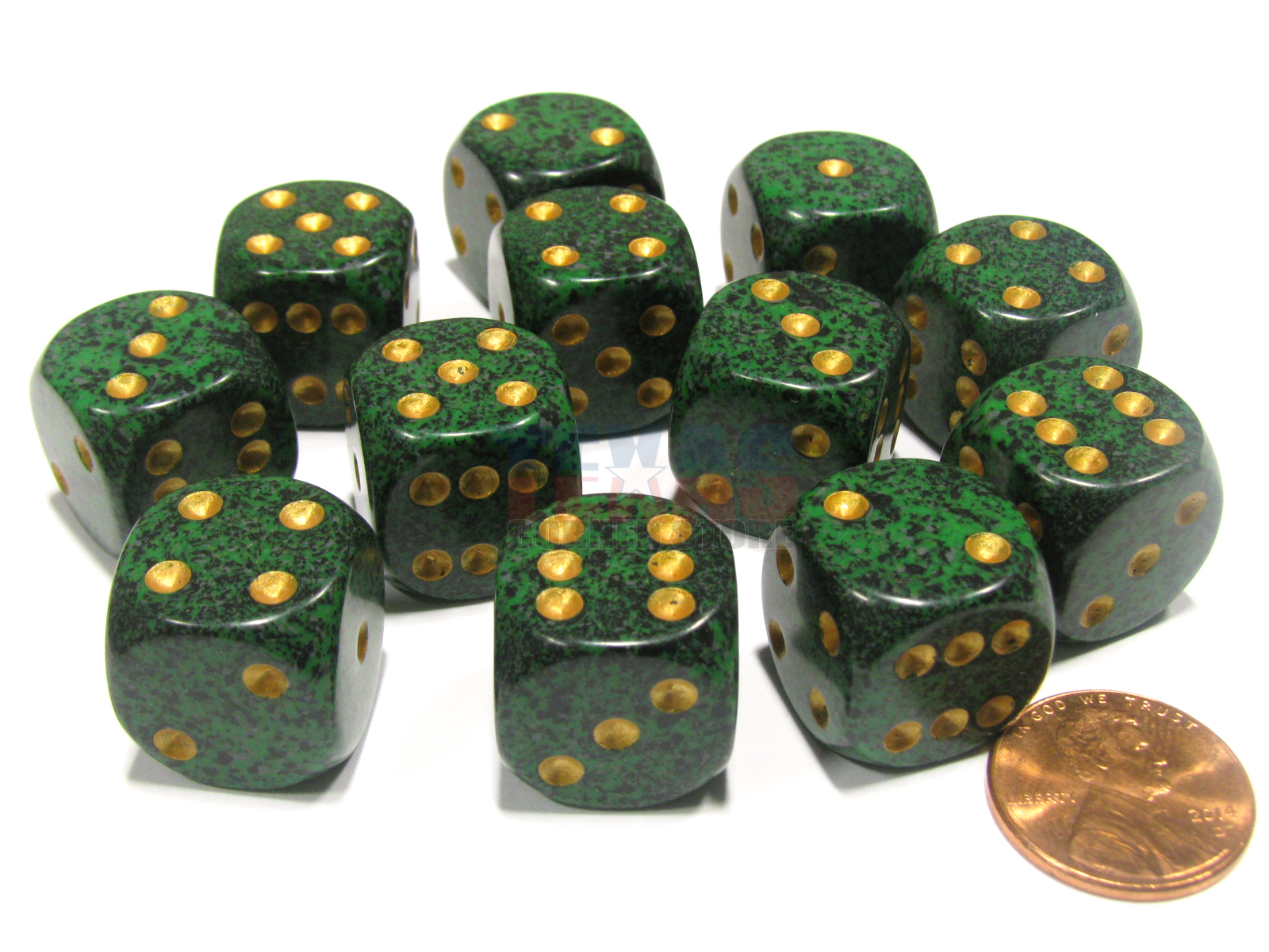 Speckled 16mm D6 RPG Chessex Dice Recon Green Black and White 10 Dice