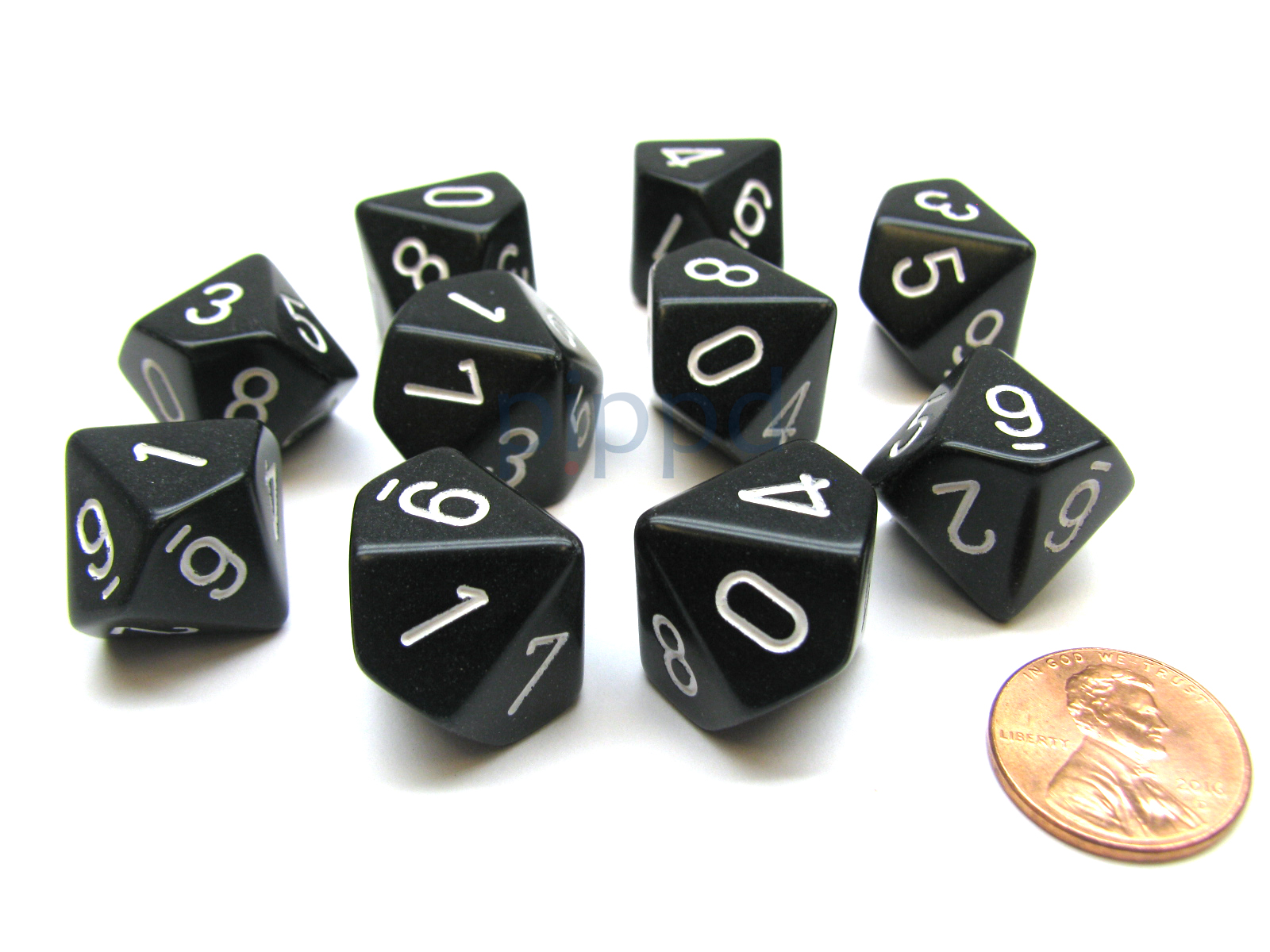 Pack Of 10 Chessex Opaque D10 Dice Red with White Numbers