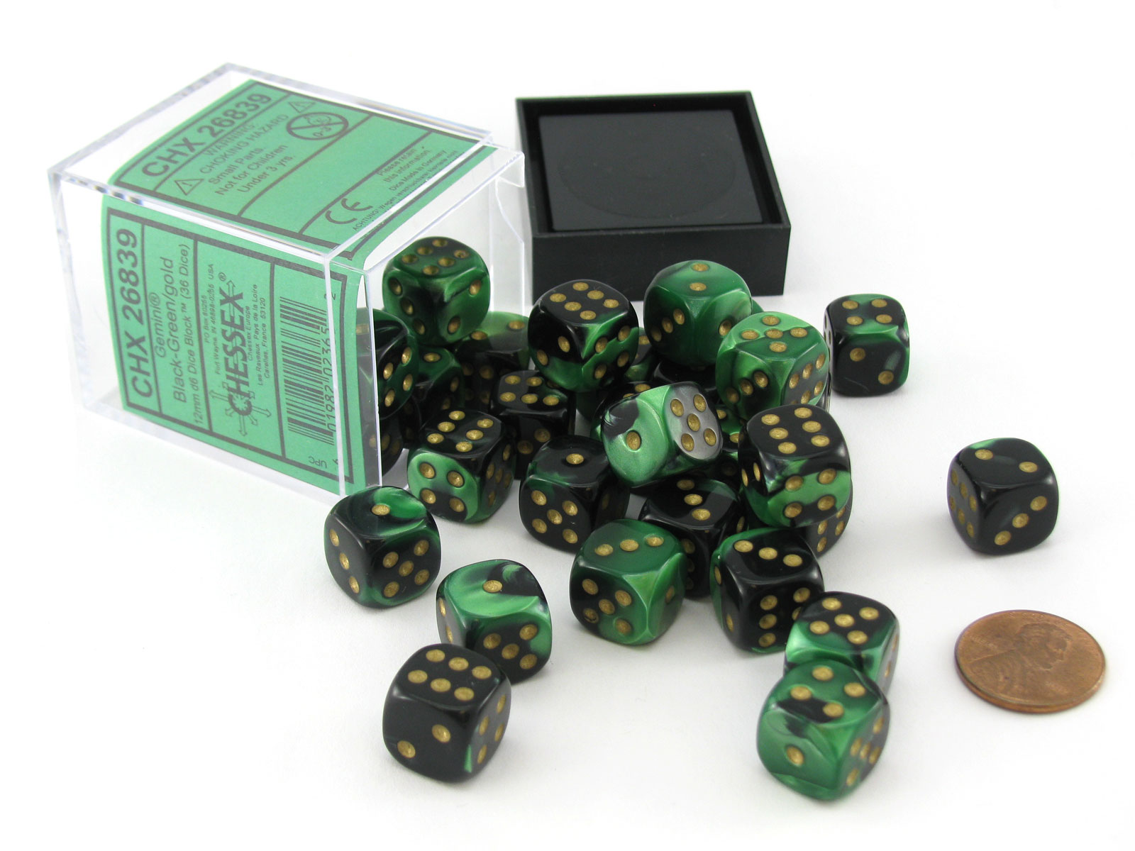 Blue-Green with Gold Pips 36 Dice Gemini 12mm D6 Chessex Dice Block