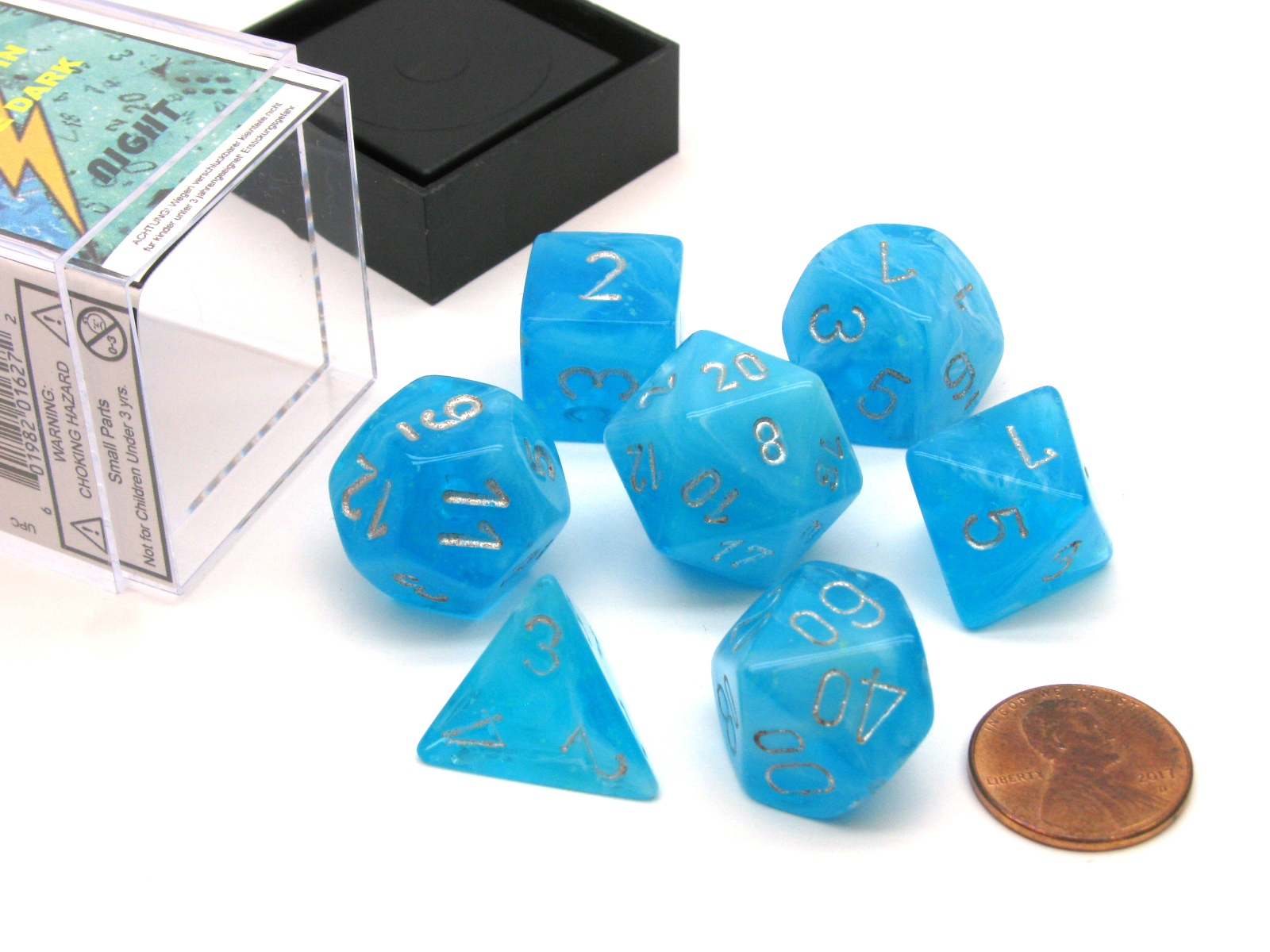 Polyhedral 7 Die Luminary Chessex Glow In The Dark Dice Set Sky