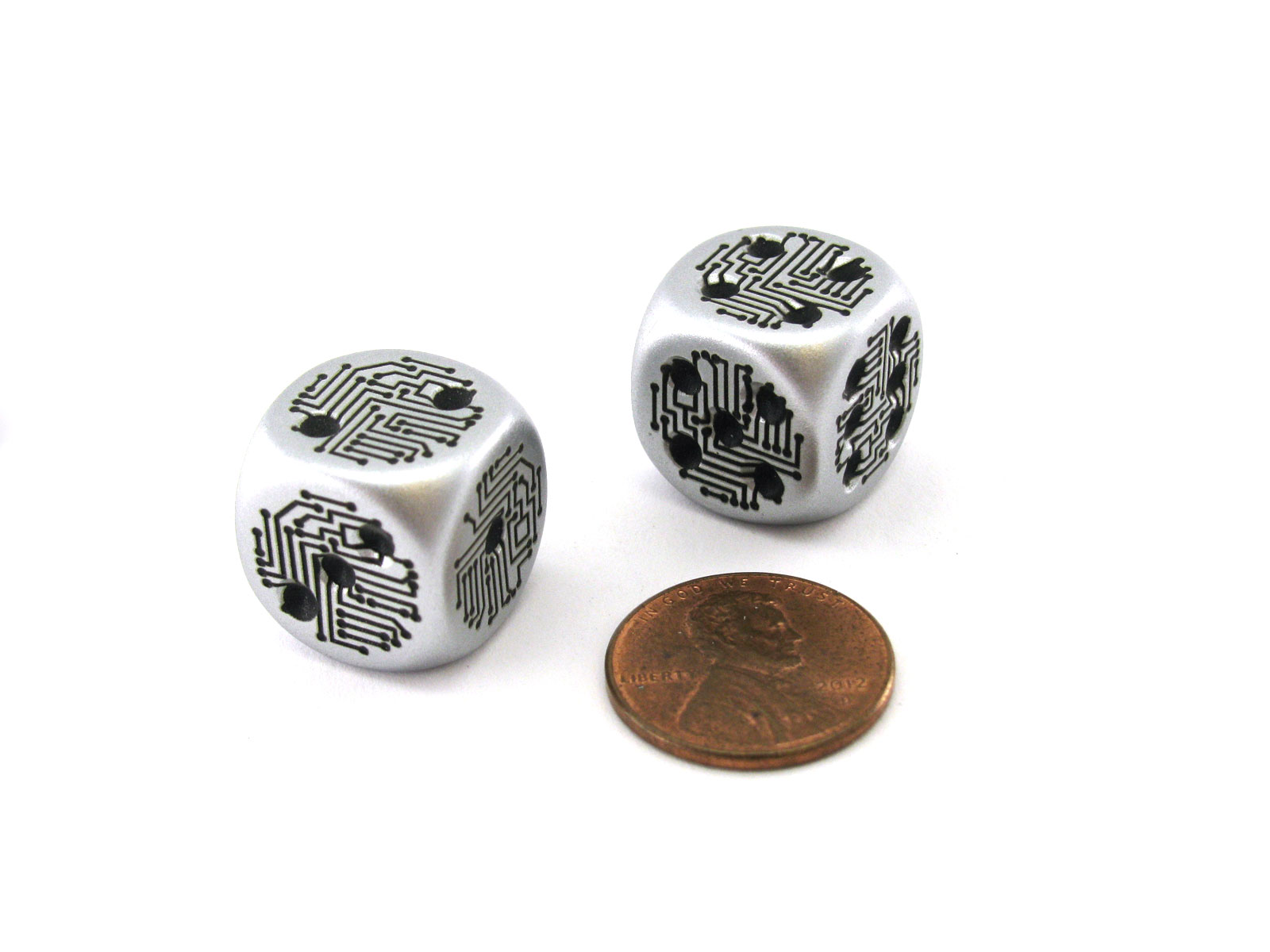 Silver Pack of 2 Circuit Design D6 Dice with Thin Metal-Plating Over Plastic
