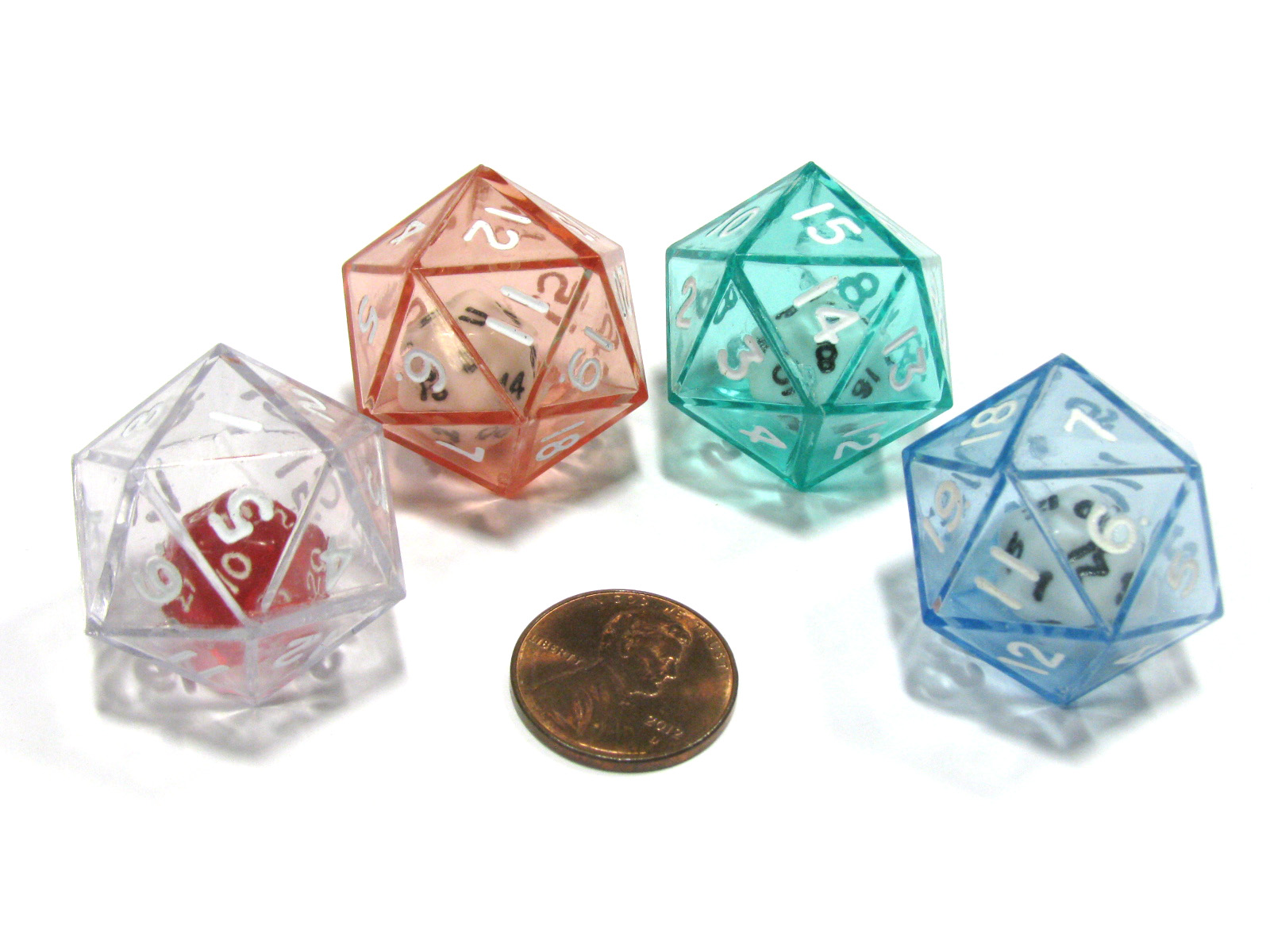 Set of 2 D12 25mm Double Dice 2-In-1 Dice White Inside Translucent Red Die