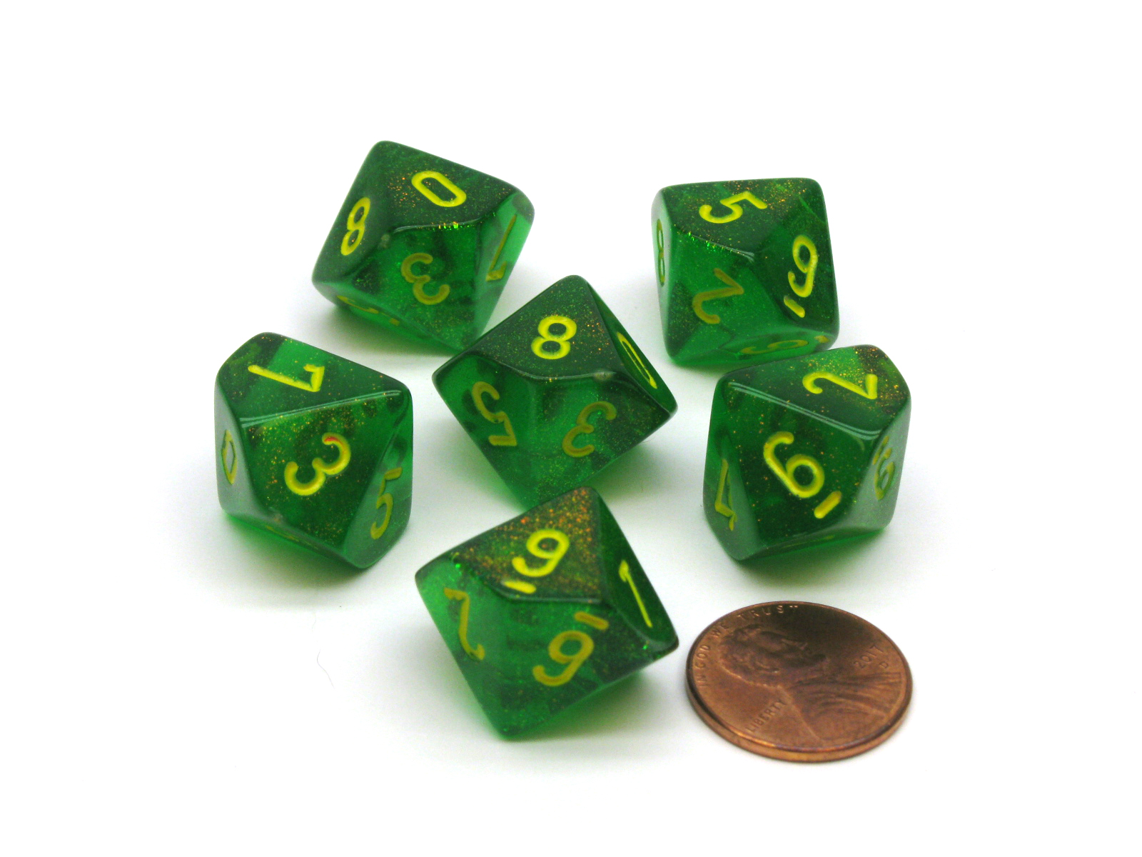 Borealis 18mm D12 Chessex Dice Maple Green with Yellow Numbers 6 Pieces
