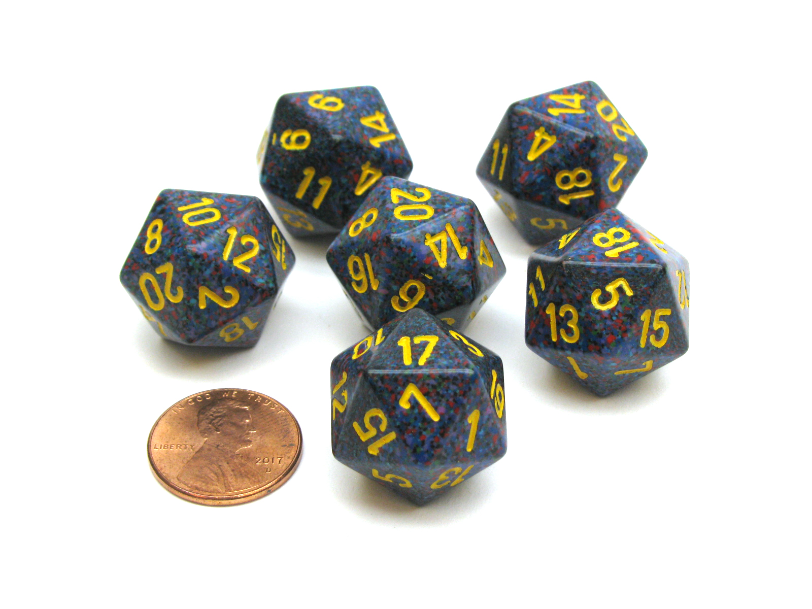 Speckled 20 Sided D20 Chessex Dice 6 Pieces Twilight