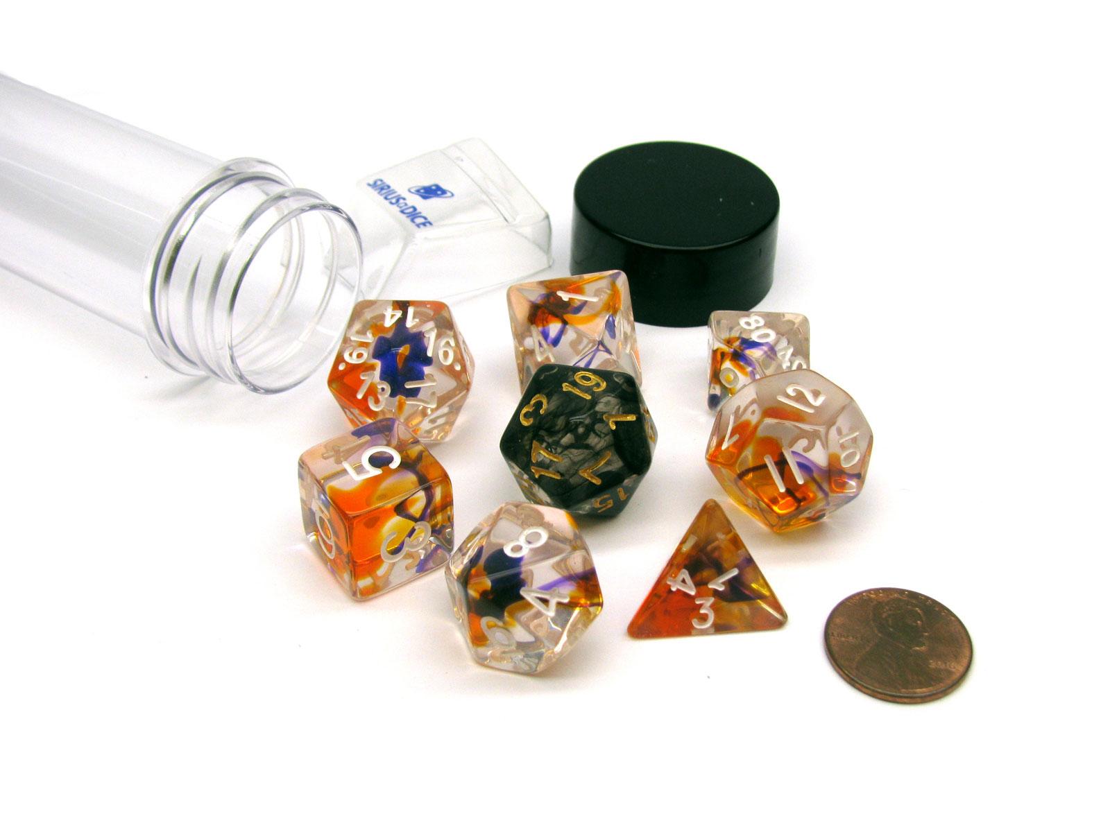 Purple Tube of 7 Polyhedral RPG Sirius Dice with Bonus D20 Orange Clear